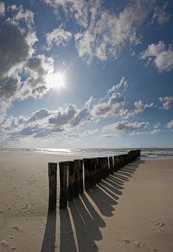 Strand mit Buhnen von Rene van der Meer