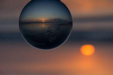 De zonsondergang gevangen van