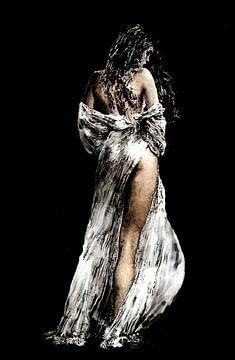 Malerische italienische Arbeit einer dunkelhaarigen Frau. von Cor Heijnen