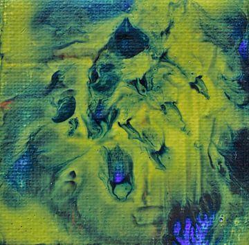 Acryl Pouring blauw geel van Angelique van 't Riet