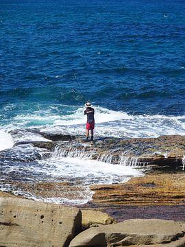 Fischer auf Felsen von Sanne Bakker