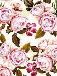 Pastel Hygge Vintage Peonies Garden