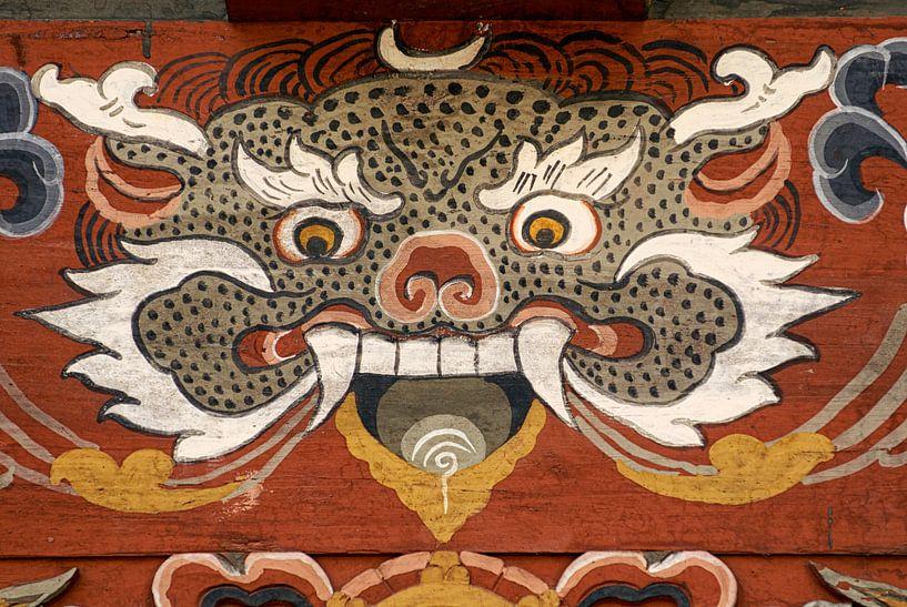 Demon in de Trongsa Dzong in Butan, van Theo Molenaar