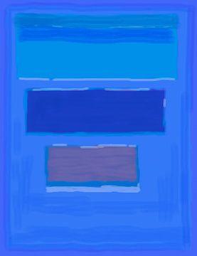 Abstract schilderij in blauwe tinten van Rietje Bulthuis