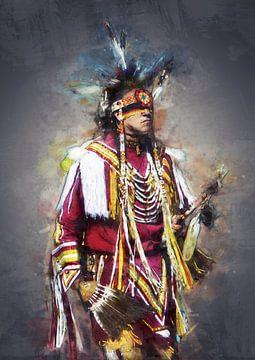 Olieverf portret van een indiaan van Bert Hooijer
