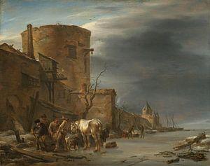 Stadswal van Haarlem in de winter, Nicolaes Pietersz. Berchem