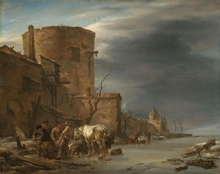 Stadswal van Haarlem in de winter, Nicolaes Pietersz. Berchem van Meesterlijcke Meesters