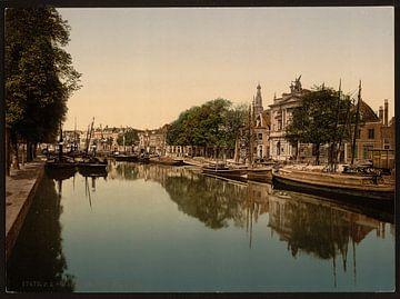 Teylers Museum en Spaarne, Haarlem von Vintage Afbeeldingen
