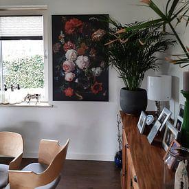 Klantfoto: Stilleven met bloemen in een glazen vaas, Jan Davidsz. de Heem, op canvas