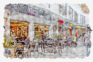"""Mittagstisch """"Mitzy"""" in Roosendaal (Aquarell) von Art by Jeronimo"""