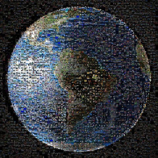 Aarde als mozaïek, van Nasa van Atelier Liesjes