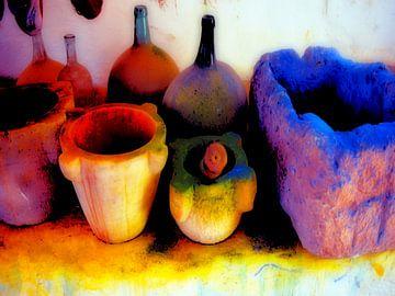 Vaten met kleurpigmenten van 3QuarksMedia