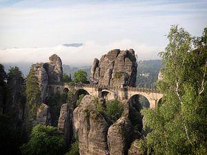 De stenen Bastei brug in de Sächsische Schweiz