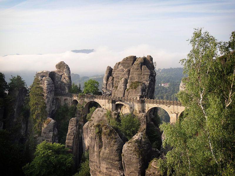 De stenen Bastei brug in de Sächsische Schweiz van iPics Photography