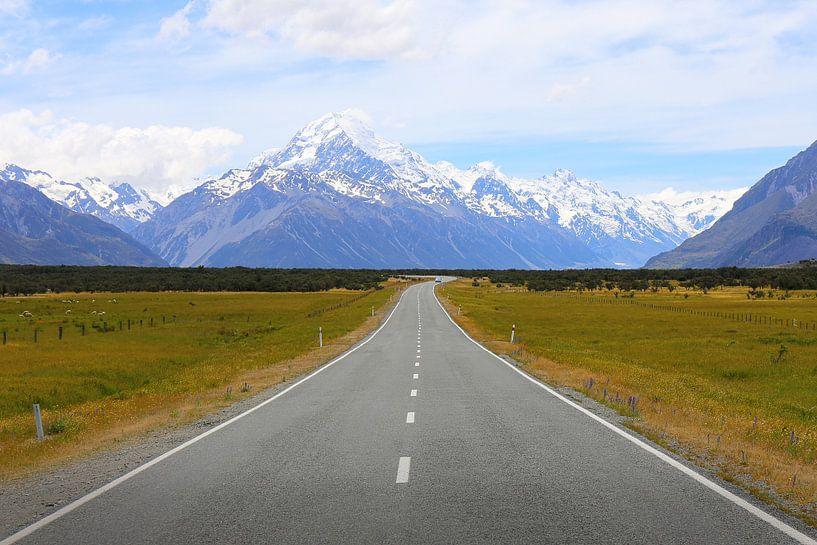 De weg naar Mount Cook / Nieuw - Zeeland van Shot it fotografie