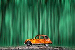 Orangefarbener Citroën 2CV in einem grünen Wald von Ribbi The Artist