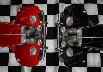 MG Midget TF rood-zwart dubbel van aRi F. Huber
