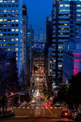 Financial district in de avond - San Fransisco