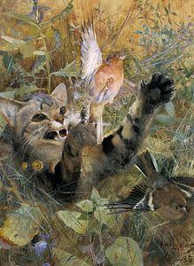 Bruno Liljefors. Een kat en een vink