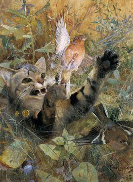 Bruno Liljefors. Een kat en een vink van 1000 Schilderijen