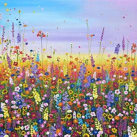 Peinture de champ de fleurs colorées sur Bianca ter Riet