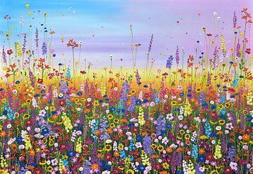 Peinture de champ de fleurs colorées