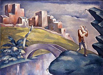 Landschaft mit einer menschlichen Figur, Eugeniusz Żak, 1916 von Atelier Liesjes