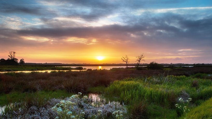 Zonsondergang Onlanden Drenthe Landschap van R Smallenbroek