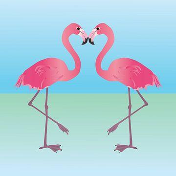 Twee roze flamingo's van Bianca Wisseloo