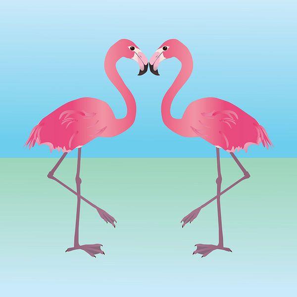 Zwei rosa Flamingos von Bianca Wisseloo