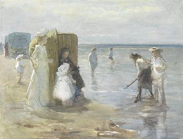 Gezicht langs de vloedlijn aan het Scheveningse strand, Johan Antonie de Jonge sur