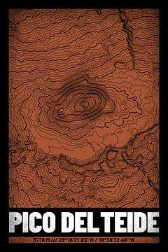 Pico del Teide | Kaart Topografie (Grunge) van ViaMapia
