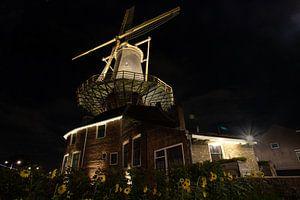 Molen de Roos Delft bij nacht van Gertjan Hesselink