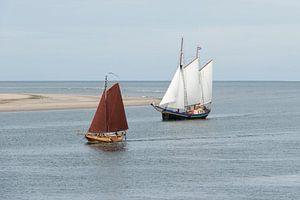 Zeilboten op de Waddenzee nabij Vlieland