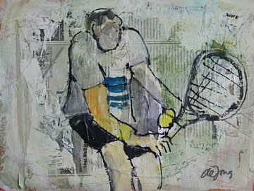Tennis, man tenisser von Leo de Jong