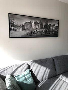 Klantfoto: Panorama Keizersgracht Amsterdam in zwart-wit van Heleen van de Ven
