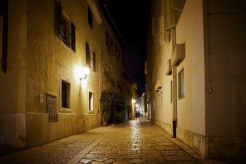 historisch steegje in de oude stad van Porec bij nacht.