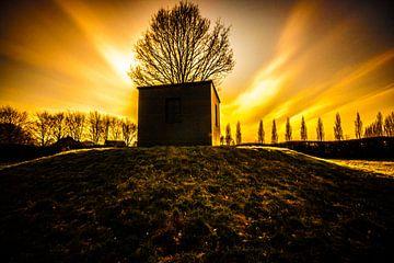 Zonsondergang De Maanhof, Stadspark Schothorst, Amersfoort van Brian Vijber
