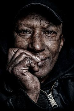 Portret van een dakloze van Michael Bulder