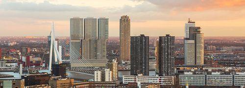 Skyline Rotterdam tijdens zonsondergang van Prachtig Rotterdam