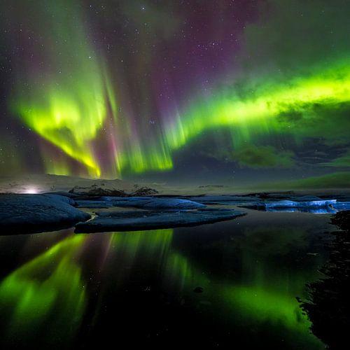 IJsbergen en noorderlicht: Jökulsárlón (IJsland) (vierkant) van CANI Fotografie.