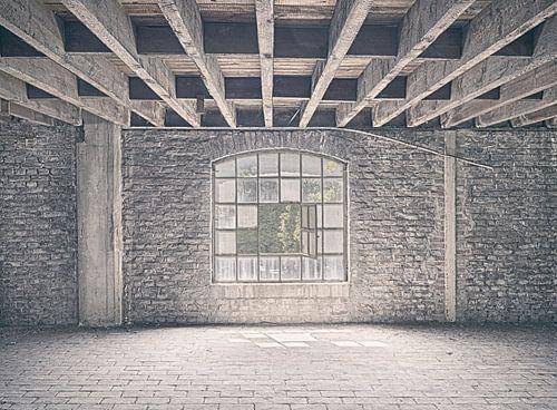 Verlaten plekken: Sphinx fabriek Maastricht venster.