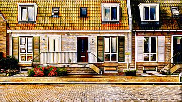 Häuser mit Podesttreppe von Digital Art Nederland