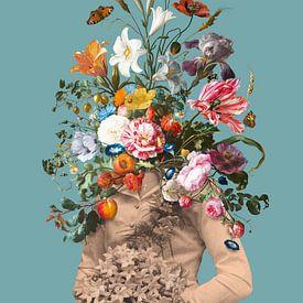 Portret van een bruid met een boeket bloemen van toon joosen