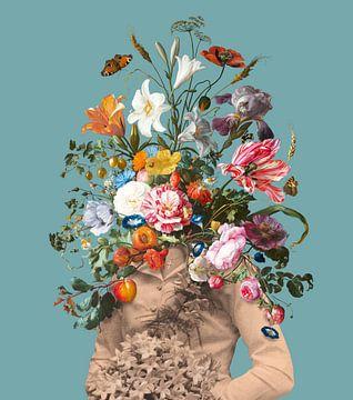 Portret van een bruid met een boeket bloemen