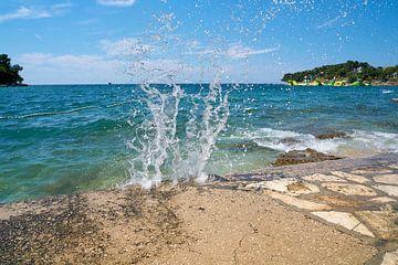 Badplaats aan de oever van de stad Porec aan de Adriatische Zee in Kroatië