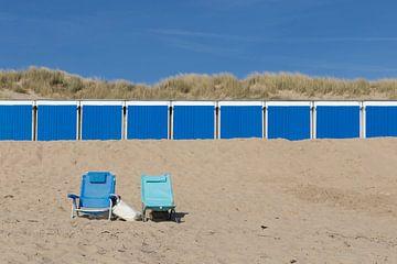 blauwe strandhuisjes van Annemiek Gijsbertsen