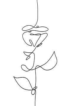 Dessin au trait abstrait rose ligne noire sur fond blanc sur Emiel de Lange