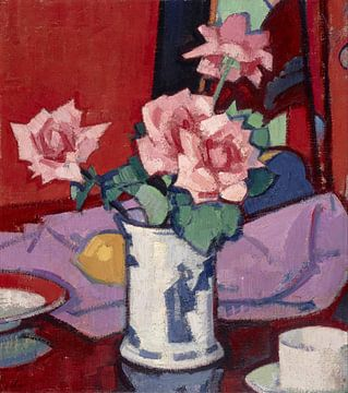 Rosa Rosen, chinesische Vase, Samuel John Peploe