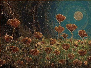 Mohnblumen bei Nacht 2 von Greta Lipman
